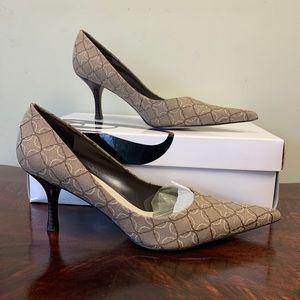 Nine West Nuncio Tan Fabric Pointed Toe Heels 7.5